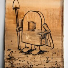 Death the Grave Digging Super Hero // Oil on Paper // 60 x35 cm // 2014