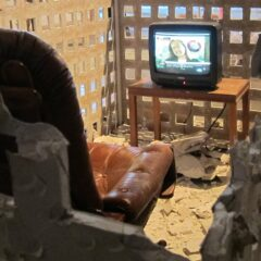 W.T.F - W.T.C.7 // Gypsum Board, Wood, Table, Leather Chair, TV, DVD, Speaers // Duration 9:25 min // 3 x 1.8 x 1.3 m // 2013