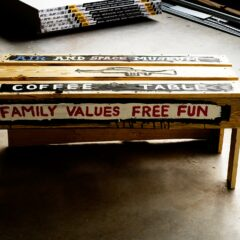Kids love war and need to be indoctrinated to the joys of coffee // Wood, Screws, Acrylic Paint // 150 x 50 x 80 cm // 2010