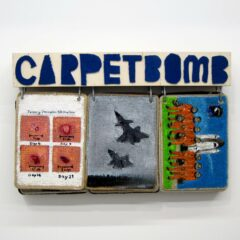 Carpet Bomb: A-Z Google Images 16:00hr 16 September 2010 // Acrylic on Carpet, Wood, Steel Bracket, Brass Eyelets // 55 x 100 x 25 cm // 2014