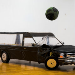 220hp Apocalypse // Wood, Polyurethane, Perspex, Tape, Aluminium Foil, Cardboard, Screws, Glue, Milk Cartons, Hose Piping, Crutch Shoe // 500 x 205 x 175 cm // 2009