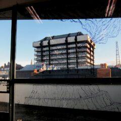 Central Bank Job // Marker on glass, Toilet roll binoculars // 4 x 3 m // 2013