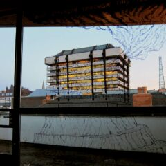 Central Bank Job // Marker on glass, Toilet roll binoculars // 4 x 3 m // 2013