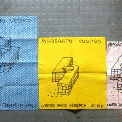 Monsanto Voodoo Caspar David Friedrich Style Tea Towel // Dish Cloths, Permanent Marker Unlimited edition Dimensions Variable // 2013