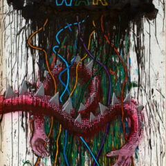 199 % certain it's Them against Us // 2012 // Acrylic on Hardboard, Pipe cleaners // 240 x 120 cm // 2012