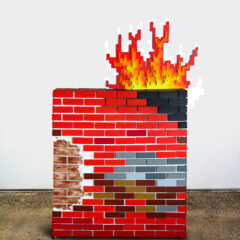 The Great Fire Wall of China // Wood, Acrylic Paint, Screws, Glue, Castor Wheels, Money Plant, Digital Prints: President Hu Jintao & Infowars Web Address // 200 x 120 x 40 cm // 2012