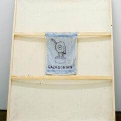 Career Suicide Painting Serious: GAZAGOSIAN // Acrylic on Canvas, Tinfoil, Tea Towel, Permanent Marer // 120 x 210 x 30 cm // 2013