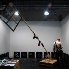 Monument to Courbet's Troubles with the Monumental Reinstalment Repayments // Wood, screws, Stretcher Frame, Tape, Cardboard Tubes, Wire, Gloves // 550 x 380 x 100 cm // 2010