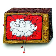CH.10: BIG BANG, funny joke // Oil and on MDF, Wire, Fimo Plastic & Glue // 34 x 47cm // 2001