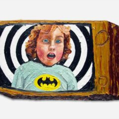 CH.33: Batman exposes himself, whilst under the evil charm's of Wonder Tits // Oil on MDF // 31 x 52cm // 2002
