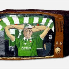 CH42: The Irish tap into their psychological reserves in defeat and sing a song about how they cant be beat. (note: the paintings shit but the title's great, it seems to fit) // Oil on MDF // 38 x 66cm // 2002