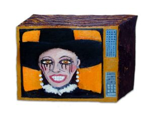 CH.62: Joan Collins lets the mascara down on her 8th Wedding (A teenage Kirchner does a Franz Halls) // Oil on MDF // 41 x 53cm // 2004