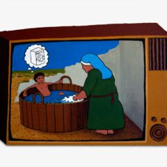 CH.67: Probably the Greatest Soap Opera in the World    Episode 2: A Family that works together Lives Forever. The good boy Jesus invents a Better Tomorrow whilst Mammy Mary pulls up her sleeves and scrubs Yesterdays Dirty Laundry Today // Acrylic on MDF // 41 x 62 cm // 2005