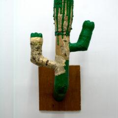 GM# 07: COWBOY 3 // Wood, Cardboard Tubing, Plastic Bottles, Papier Mache, Acrylic Paint // 60 x 60 cm // 2007