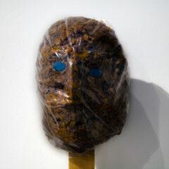 Asphyxiated Idol* // Wood, Cling Film, Blue Mint Sweets, Є 100 worth of Mars Bars // 150 x 100 x 150 cm // 2010
