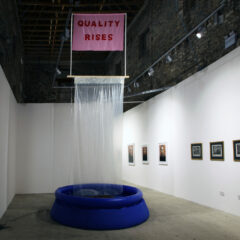 The Rise and Fall of Meritocracy // Inflatable Swimming Pool, Water, Polyurethane, Cotton Fabric, Plastic Piping, Wood, Water Pump, Cord, Expandable Foam, Acrylic Paint, Varnish // 10 x 3 x 3 m // 2012