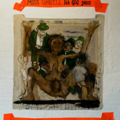 Miss Sheela na Gig Cathleen Ni Houlihan Fantasy Gangbang // Acrylic on Canvas, Plastic, Permanent Marker // 250 x 160 cm // 2010