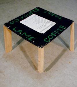 $2,000.000 Lame Coffee Table // Wood, Acrylic Paint, Screws // 60 x 60 x 40 cm // 2003