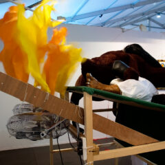 Race Riots @ Longchamp // Wood, Screws, Cardboard, Acrylic Paint, Glue, Fake Fur, Felt, Leatherette, Wool, Cotton, Nylon, Foam Stuffing, Papier Mache, Brass Eyelets, Rubber Hose, Sunglasses, Hair, Tie Wraps, Electrical Fans, Digital Print of Degas 'Fallen Jockey' // 200 x 200 x 120 cm // 2008