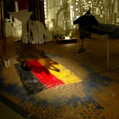 German Holiday: Trying to do for the Beach Towel what Rauschenberg did for the bed // Towel, Paint, Sand // 170 x 100 cm // 2006