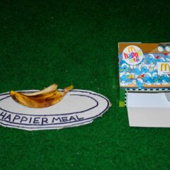 Left Overs from Happier Times // McDonalds Happy Meal Box, Cardboard, Permanent Marker, Banana Skin // 50 x 20 x 20 cm // 2006