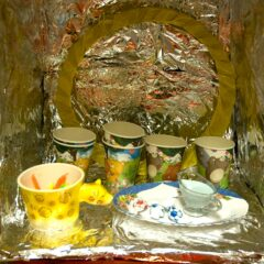 Tabernacle of the Secret to Stinky Free Feet // Cardboard, Tinfoil, Ceramic Cup & Plate, Paper Cups, Candles, Bikini Vestment, Glass Jug, Ointment of Head & Shoulders // 40 x 40 x 40 // 2007