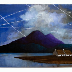 Chem-Trail / Geo-Engineering / Aerosol Spraying Over Connemara // Paul Henry, 1877-1959 // Acrylic on Canvas // 51x40cm // 2015