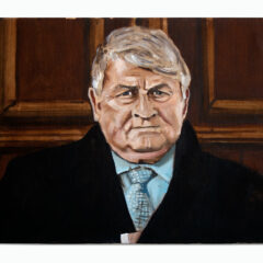 Denis O Brien reaches into his pocket whilst in the Dock giving evidence in Court relating to Legal Proceedings Brought by the Plaintiff (Denis O'Brien) against the Irish State and all its Peoples on Charges of Thought Crimes against the said Plaintiff using this prophetic portrait as well as the entire works of Jonathon Swift as evidence of his grievance // Sean Keating, 1889-1977 // Acrylic on Canvas // 30x5 0cm // 2015