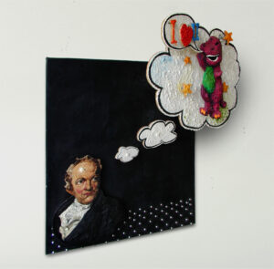 William Blake has a Terrible Vision // Oil & Wax on Board, Rubber, Mirror Screws, Nuts, Bolts, Washers // 96 x 91 x 19 cm // 2001