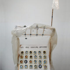 Art Asylum Shelter // Pound Shop Paintings, Wood, Bamboo, Glue, Screws, Bolts, Polyurethane, Tape, Wheels, Acrylic Paint, Permanent Marker // 120 x 200 x 80 cm // 2005
