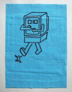Portrait of Bill Gates as a Trans-Human Video Game Over Monster // Dish Cloth & Permanent Marker// 2013