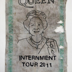 Internment Tours Tea Towel: Sry 4 ur Troblz // Permanent Marker, Tea Towel // 35 x 45 cm // 2014