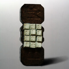 Beuys Telecommunication Upgrade; Sculpt Sociably // Peat Briquette, Computer Keyboard Buttons, Glue // 20 x 9 x 7 cm // 2006
