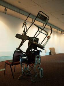 Ikea Barricade to Babel // Chairs, Tie Wraps, Tape, Acrylic Paint, Digital Print // 220 x 100 x 100 cm // 2006
