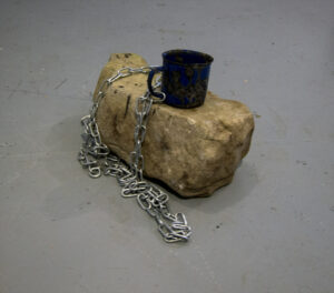 Cup of Cern // Marble, Steel Chain, Enamelled Tin Mug // 40 x 30 x 25 cm // 2015