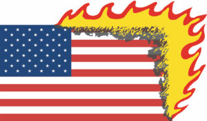 The Eternal Flame: 100% Environmentally Friendly USA Protest Flag // Printed Polyester Flag, Text // 100 x 200 cm // 2006