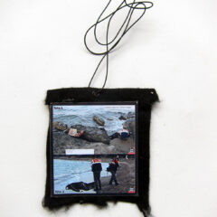 Ai Weiwei Fakes a Fake (Meditated Media Medals) // Laminated Digital Print, Felt, Eyelet, Glue, Wire // 10 x 12 cm // 2016