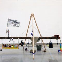 The Resurrection of Delacroix as a Battering Ram //Wood, Chain, Metal & Plastic Fittings, Crutch, Studio Equipment & Paint, Rocks, Concrete, Digital Prints // 400 x 200 x 160 cm // 2016