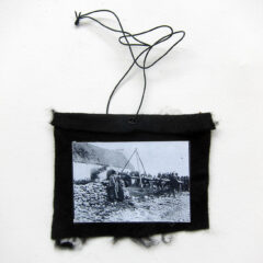 Potato Blight Disguised as a Batter Ram (Meditated Media Medals) // Laminated Digital Print, Felt, Eyelet, Glue, Wire // 10 x 12 cm // 2016