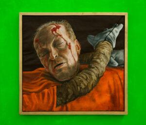 Gericault Gung-Ho Gonzo: Embedded with Rita Katz //Wood, Cardboard, Glue, Felt, Wire, Laminated Digital Prints, Acrylic Paint, Canvas, Cotton, Packaging Tape, Gloves, Tie Wraps // 220 x 220 x 80 cm // 2016