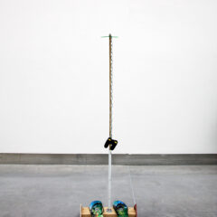 Jesus goes to Guantanamo // Bamboo, Wood, Screws, Metal Conduit, Binocolars, Chain, Tie Wraos, Flip Flops // 120 x 40 x 30 cm // 2016