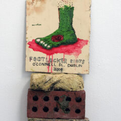 D'Buoys in the Hoodies // Oil on Board, Gaffer Tape, Bricks // 230 x 40 x 15 cm // 2006