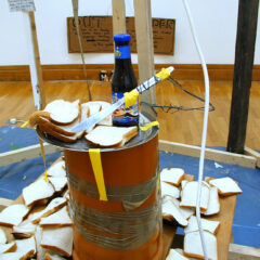 North Kilkenny Slave Sandwich Banquet // Pallet,Sewage Piping, Stainless Steel Tray,Wire, Knife, Brown Sauce, Sliced Bread // Dimension Bearable// 2005
