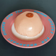 Mammary Stew // Ceramic Bowl, Vinyl, Paint, Inflatable Breast // 35 x 35 x 15 cm // 2005