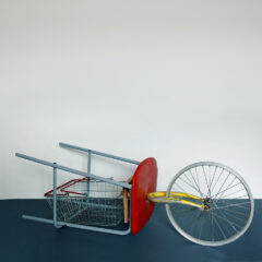 Bicycle Wheel-Borrowed // Stool, Wood, Shopping Basket, Tie Wraps, Bicycle Wheel & Forks // 150 x 40 x 40 cm // 2005