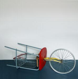 Bicycle Wheel-Borrowed // Stool, Wood, Shopping Basket, Tie Wraps, Bicycle Wheel & Forks // 150 x 40 x 40 cm // 2005