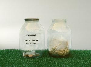FREEDUMB // Glass Jars, Astroturf, Letreset, Transparent Tape// 35 x 60 x 30 cm // 2006