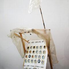 Art Asylum Shelter // Pound Shop Paintings, Wood, Bamboo, Glue, Screws, Bolts, Polyurethane, Tape, Wheels, Acrylic Paint, Permanent Marker // 120 x 200 x 80 cm // 2005