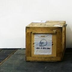 Back of a Truck Merchandise Desk // Transport Box, Plastic Bags, Permanent Marker, Tacks // 120 x 120 x 110 cm // 2014