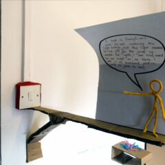 A Dud in Any Dimension // Pipe Cleaners, Cardboard, Wood, Permanent Marker, Tape, Paper // 60 x 30 x 10 cm //